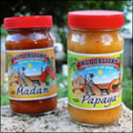 Hot papaya sauce, made from our own papaya and Madame Jeanette hot ...